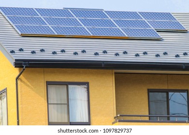 Solar power panels on roo ,Photovoltaic modules for innovation green energy for life with blue sky background.