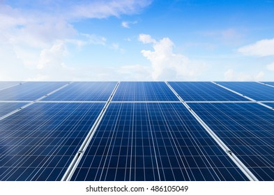 Solar power plant and blue sky