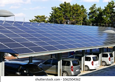 A solar power plant installed on top of a parking lot
