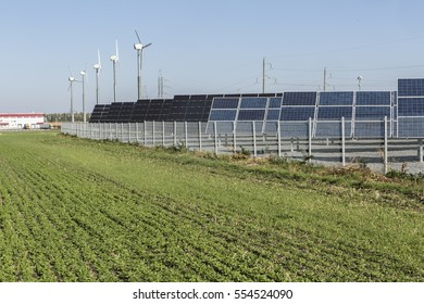 Solar power plant. Wind generators.Alternative energy.