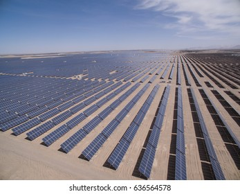 solar power plants, look down from above, golmud in qinghai province, China