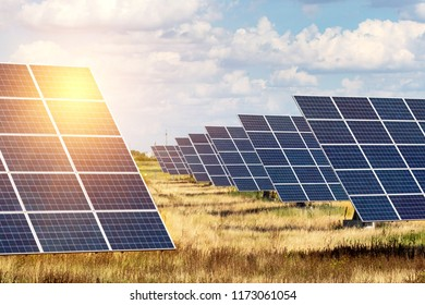 Solar Power Plants. solar panels on the sky background. alternative energy