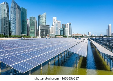 solar power station with city skyline
