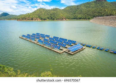 Solar power station float on water,Ecological energy renewable solar panel plant electric power.