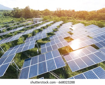 Solar Power Station in the green spring Nature,Solar panel Clean energy  thailand