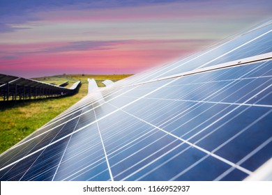 Solar power station with huge solar photovoltaic panels.