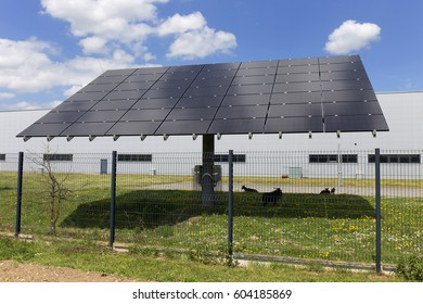Solar Power Station on the spring Meadow
