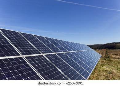 Solar Power Station in the spring Nature