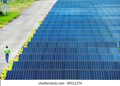 Solar power station top view. Engineer  manager order the worker have to do report  about solar energy from the station everyday. Sunlight is importance for green industry