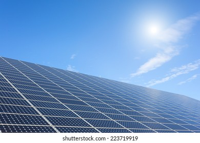 solar power station under blue sky, panels producing electricity
