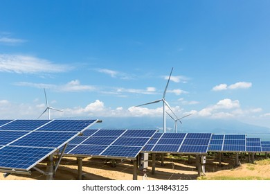 solar power station and wind farm on poyang lakeside, clean energy with clear sky