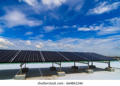 Solar power system, image for system of Alternative energy, Roof top solar panels in sunny and blue sky with copy space, Energy saving concept