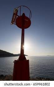 solar powered beacon near the port of muna on the island zirje in croatia