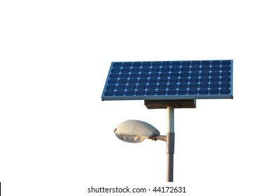 Solar powered city lamp isolated on white background with copyspace. Including clipping path