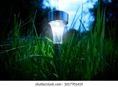 Solar Powered Lamp in the Grass in the Evening