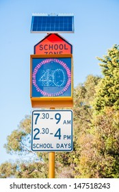 A Solar Powered School zone and Speed Limit Sign