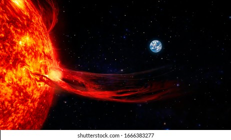 Solar prominence, solar flare, and magnetic storms. Influence of the sun's surface on the earth's magnetosphere. Elements of this image furnished by NASA.
