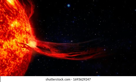 Solar prominence, solar flare, and magnetic storms. Plasma flash on the surface of a star. Elements of this image furnished by NASA.