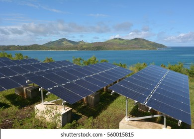 Solar PV modules on remote Island in Fiji. Fiji Sustainable Energy goals include sourcing more than 80% of the countrys electricity from renewable energies by 2020, and 100% by 2030.