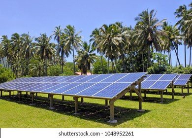 Solar PV modules in Rarotonga, Cook Islands. It is expected that Cook Islands will be entirely solar powered by 2020