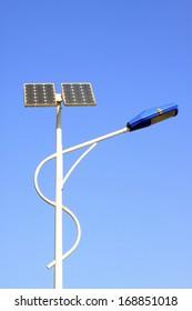 solar street lamps under the blue sky