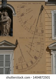 Solar sundial in Governor Palace in Parma. Governor Palace is situated in Garibaldi Square and it has a baroque facade and a clock tower with a solar sundial painted.
