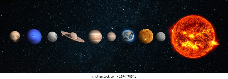 The solar system consists of the Sun, Mercury, Venus, Earth, Mars, Jupiter, Saturn, Uranut, Neptune, Pluto.Elements of this image furnished by NASA