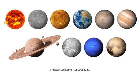 El sistema solar está formado por el Sol, Mercurio, Venus, Tierra, Marte, Júpiter, Saturno, Uranut, Neptuno, Plutón. aislado con un recorrido de recorte en fondo blanco.Elementos de esta imagen amueblados por la NASA