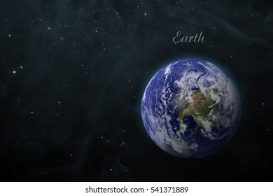 Solar System - Earth. Isolated planet on black background. Elements of this image furnished by NASA
