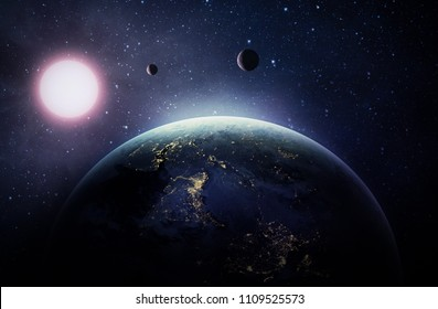 Solar system with Earth, Sun and other planets in the space. Abstract wallpaper. City lights on planet. Civilization. Elements of this image furnished by NASA