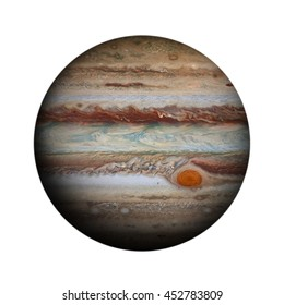 Solar System - Jupiter. Isolated planet on white background. Elements of this image furnished by NASA