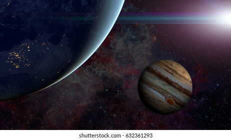 Solar System - Jupiter. Science background. Elements of this image furnished by NASA