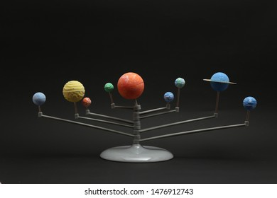 solar system model in black background