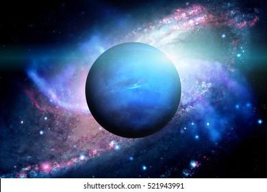 Sistema solar - Neptuno. Es el octavo y más lejano planeta del Sol en el Sistema Solar. Es un planeta gigante. Neptuno tiene 14 satélites conocidos. Elementos de esta imagen amueblada por la NASA.