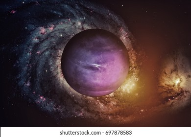 Solar System - Neptune. It is the eighth and farthest planet from the Sun in the Solar System. It is a giant planet. Neptune has 14 known satellites. Elements of this image furnished by NASA.