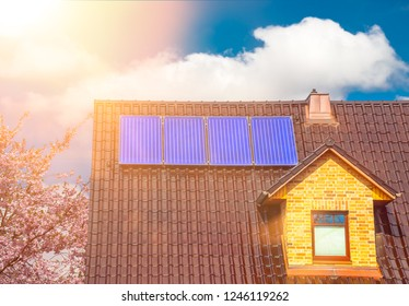 Solar system on a family house solar thermal