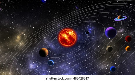 solar system. The photograph is prepared using 3D rendering and Gaussian noise distribution in image processing software and coding.
