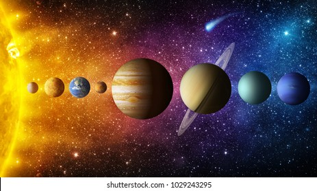 Sistema solar planeta, cometa, sol y estrella. Elementos de esta imagen amueblada por la NASA. Sol, mercurio, Venus, planeta tierra, Marte, Júpiter, Saturno, Urano, Neptuno. Antecedentes científicos y educativos.