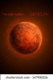 Solar System - Planet Mercury. Elements of this image furnished by NASA