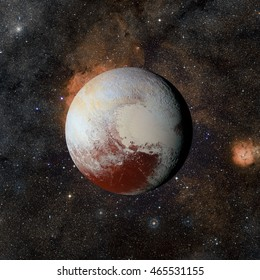 Solar system planet Pluto on nebula background. Elements of this image furnished by NASA