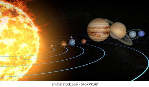 Solar system planets, diameter ratio, quantities, sizes and orbits. Elements of this image are furnished by NASA. 3d rendering