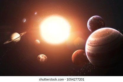 Solar system planets, Earth, Mars, Jupiter and others. Awesome detailed visualization. Elements of this image furnished by NASA