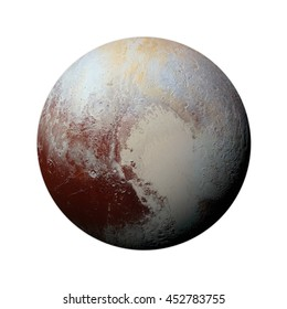 Solar System - Pluto. Isolated planet on white background. Elements of this image furnished by NASA