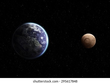 Solar system - Real scale of objects. Elements of this image furnished by Nasa