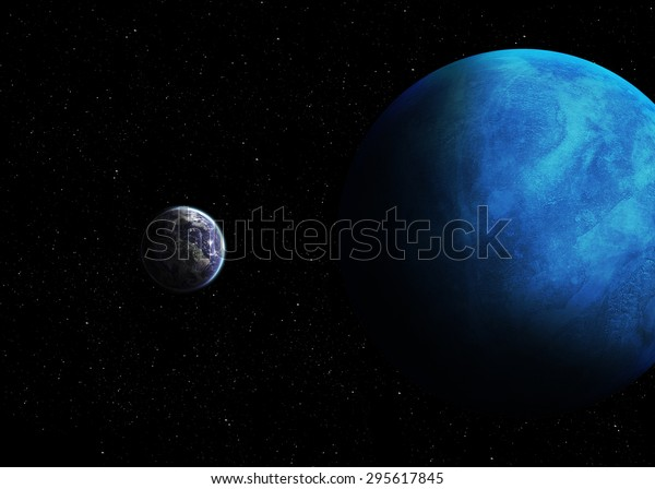 Solar System Real Scale Objects Elements Stock Photo (Edit