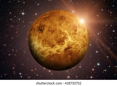 Solar System - Venus. It is the second planet from the Sun. It is a terrestrial planet. After the Moon, it is the brightest natural object in the night sky. Elements of this image furnished by NASA.