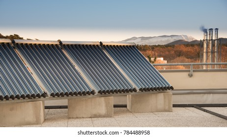 Solar Thermal Panel on roof in winter, Synchrotron in Trieste, Italy