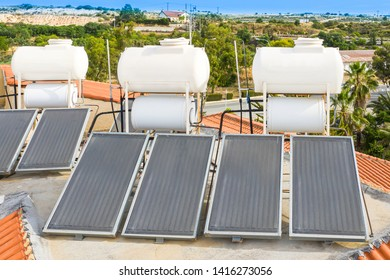 Solar thermal water heatihg system. Solar heat collectors. Solar power. Water heating from the sun. Sunny panels. Environmentally friendly consumption of resources. Pool maintenance.