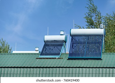 Solar water heater for home. Alternative energy sources.
