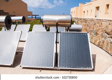 Solar water heater on roof